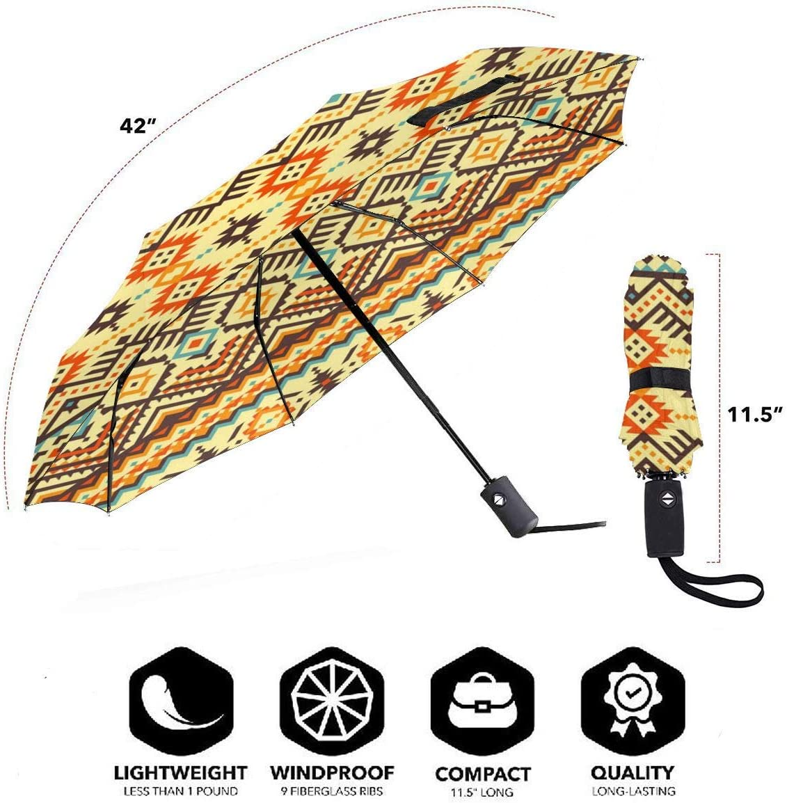 Tribal Navajo Pattern Automatic Open Folding Compact Travel Umbrellas For Women