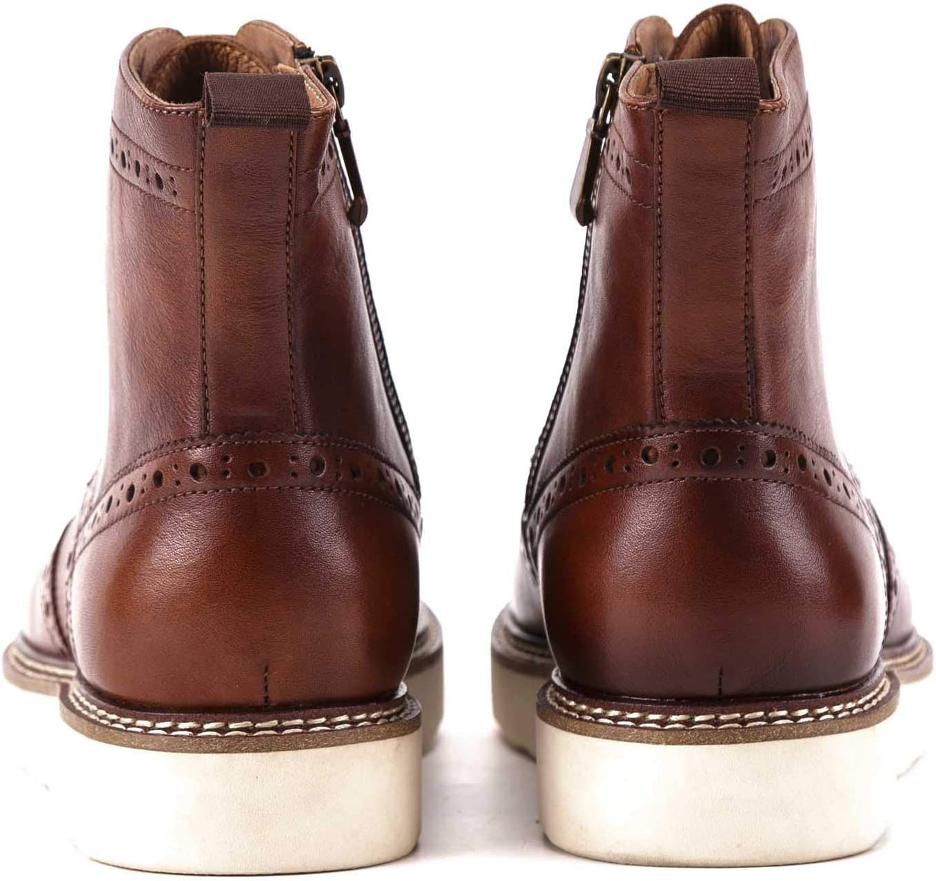 Mens Ankle Boots Lace Up Bracket Shoes Perforated Oxford Shoes