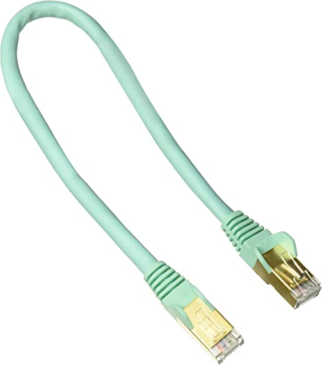 StarTech 1ft Cat6a STP Shielded Snagless Ethernet Patch Cable Aqua