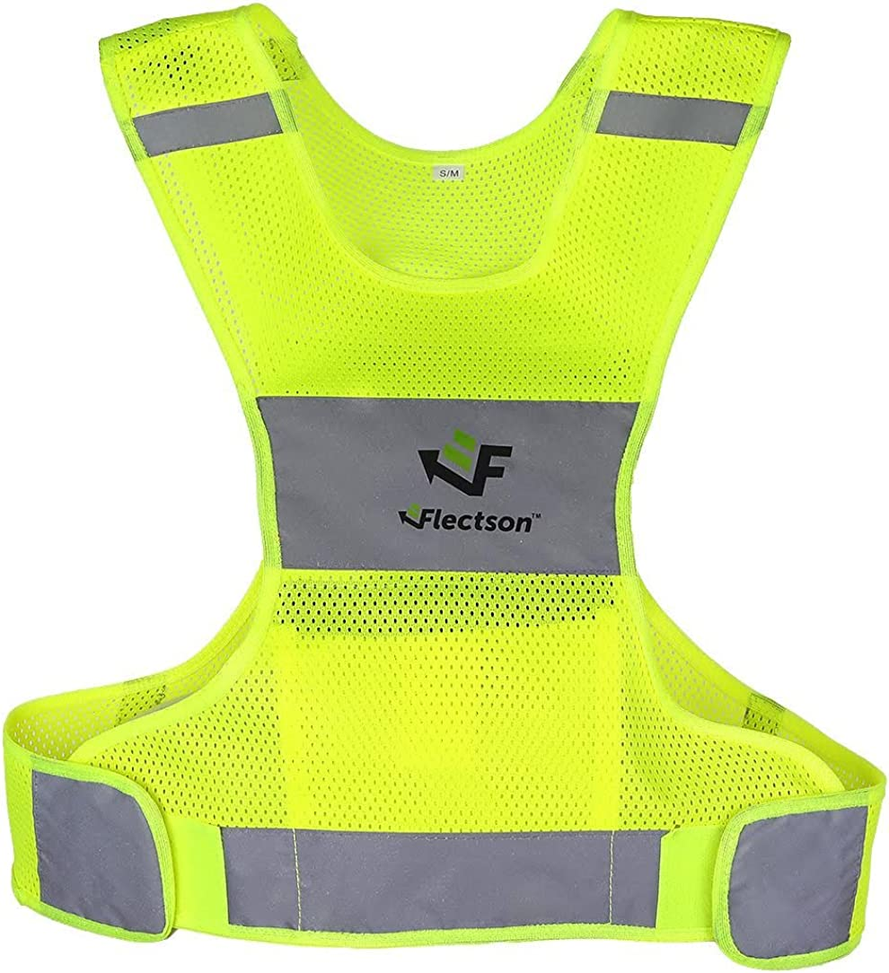 One Size for Men Women Hi Vis Adjustable Safety Gear Perfect for Outdoor Dog Walking Jogging FEimaX 2 Pack High Visibility Reflective Vest for Night Running Cycling