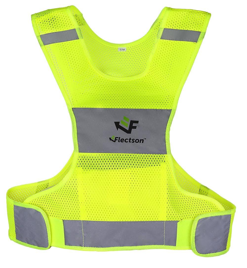 Flectson™ Reflective Vest for Running or Cycling (Women and Men, with Pocket, Gear for Jogging, Biking, Motorcycle, Walking)(Large)