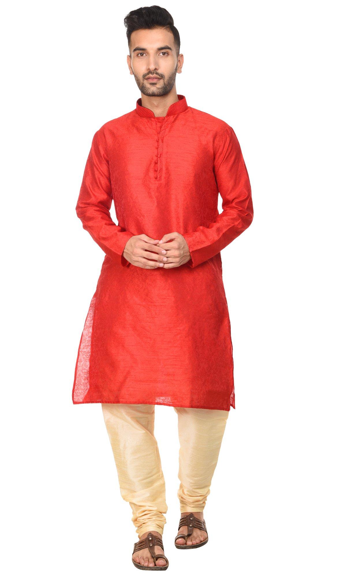 Long Sleeve Shirt Embroidered Mens Kurta Pajama Set Red India Yoga Summer Dress -L