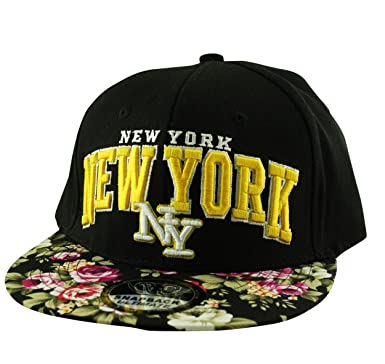 d07a077f5d1 Unisex Adults New York NY Floral Snapback Flat Peak Fitted Baseball Cap Hat  (Mens Ladies) (Black)  Amazon.co.uk  Clothing