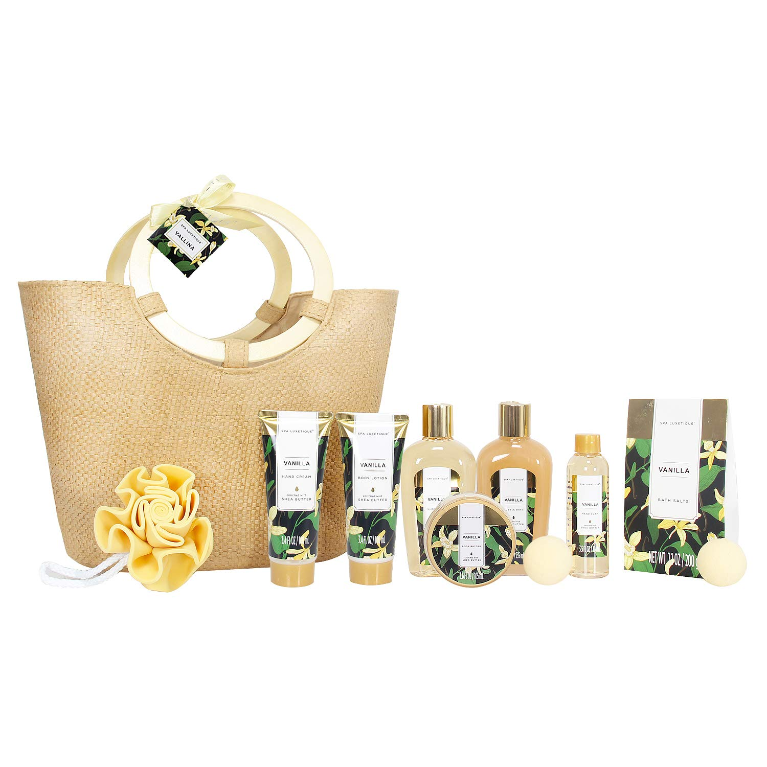 Spa Luxetique Spa Gift Baskets for Women, Premium 10pc Bath Gift Baskets, Vanilla Fragrance Home Spa Gift Set with Bath Bomb, Hand Cream, Bath Pouf Sponge, Best Gift Set for Women or Her.