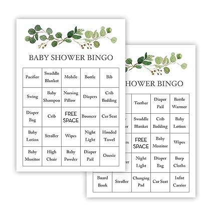 Invitationhouse Greenery Eucalyptus Baby Shower Bingo Cards Prefilled Set Of 24