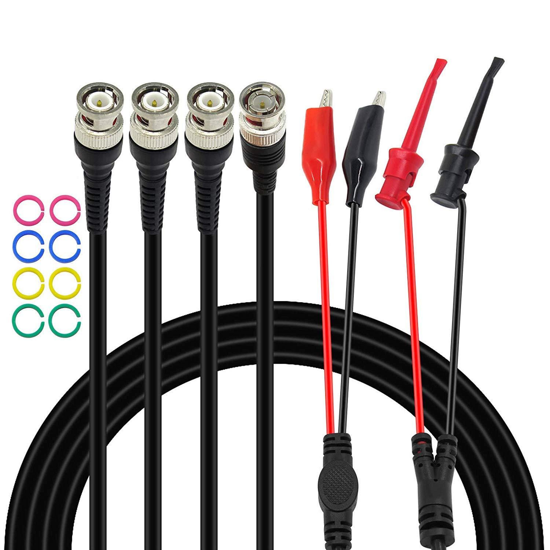 Amadget - Juego de 3 cables BNC de prueba, cable BNC a BNC, clip BNC a pinza de cocodrilo y conector BNC a mini gancho de prueba, sonda de cable coaxial para