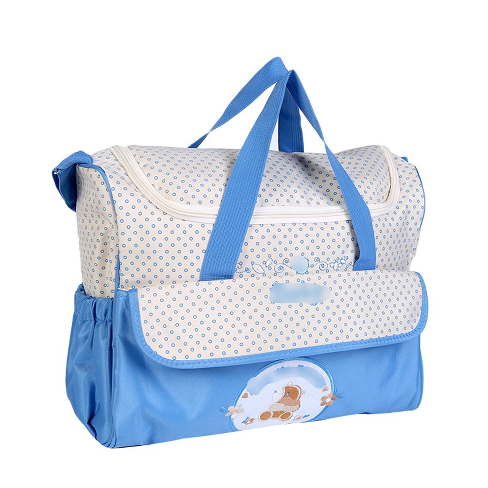 Azul, 38 * 18 * 30cm Jitong Multifunci/ón Bolsa de Hombro Tote para Madre Bordado Gran Capacidad Bolso Pa/ñalera para Beb/é