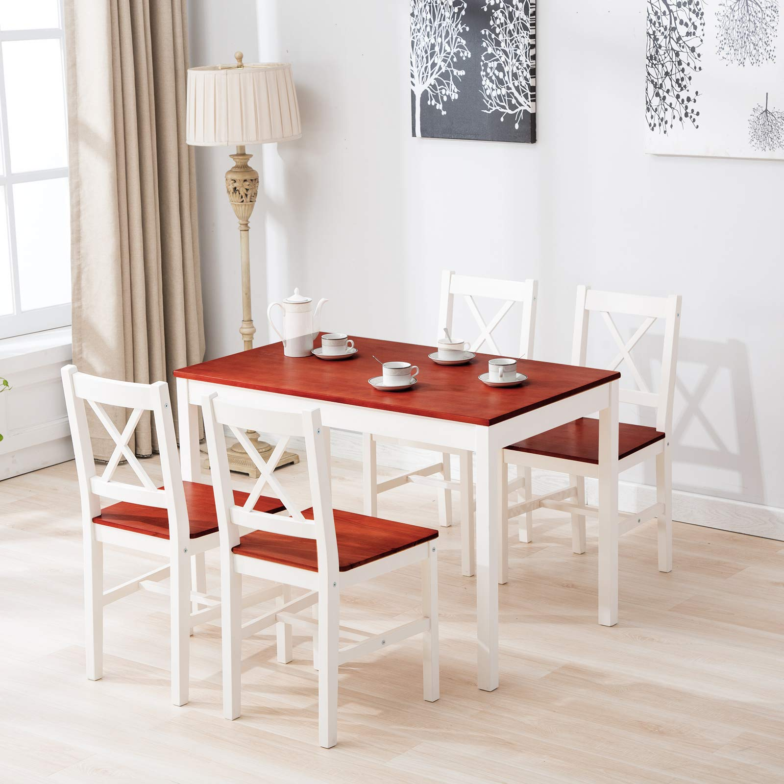 mecor 5 Piece Kitchen Dining Table Set, 4 Wood Chairs Dinette Table Kitchen Room Furniture, Red by mecor