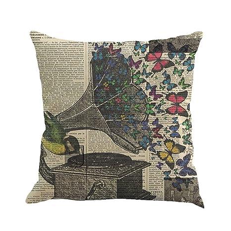VJGOAL Literaria Pintura de la Mariposa impresión Extraíble y Funda de Cojín de Lino Lavable Throw Waist Funda de Almohada Sofá Decoración para el ...