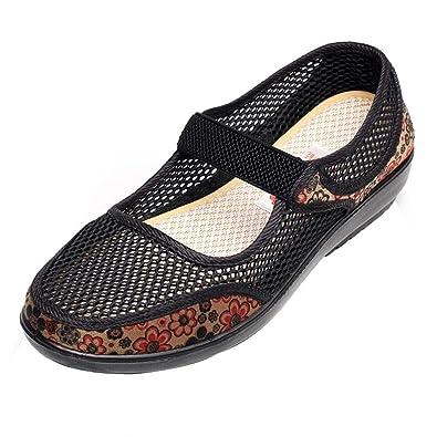 Zapatillas para Mujer Otoño PAOLIAN Calzado de Dama Planos Merceditas Zapatos Escolares con Rejilla Suela Blanda Espadrilles Cómodos Senderismo Moda ...