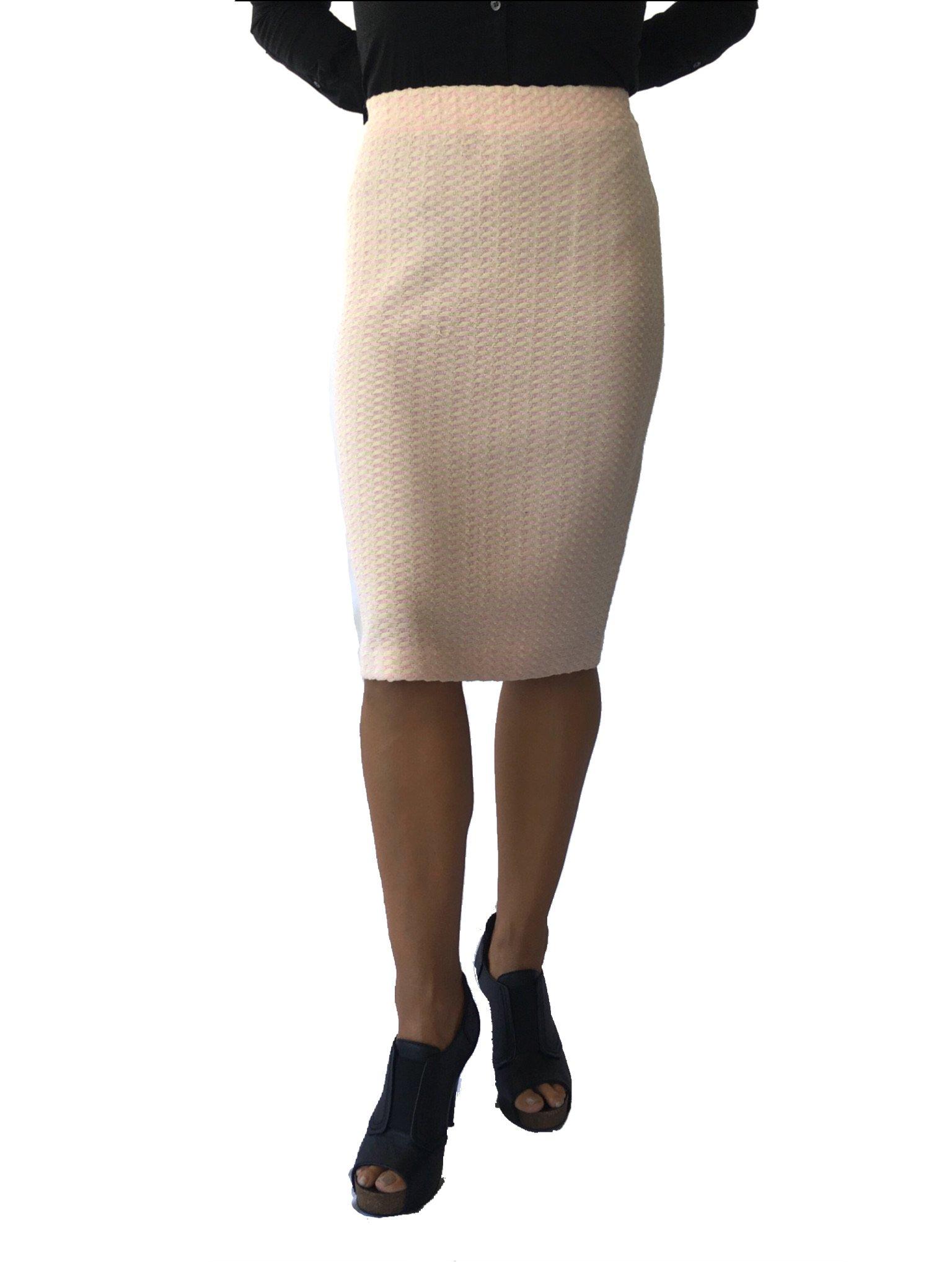 St. John Collection Tweed Knit Skirt (4, Lt.Pink/Khaki)