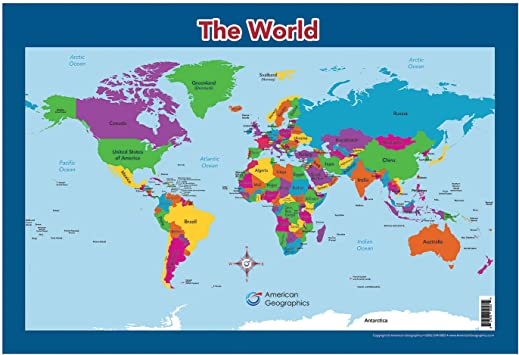 World Map For Kids Amazon.: World Map for Kids   World Wall/Desk Map (18
