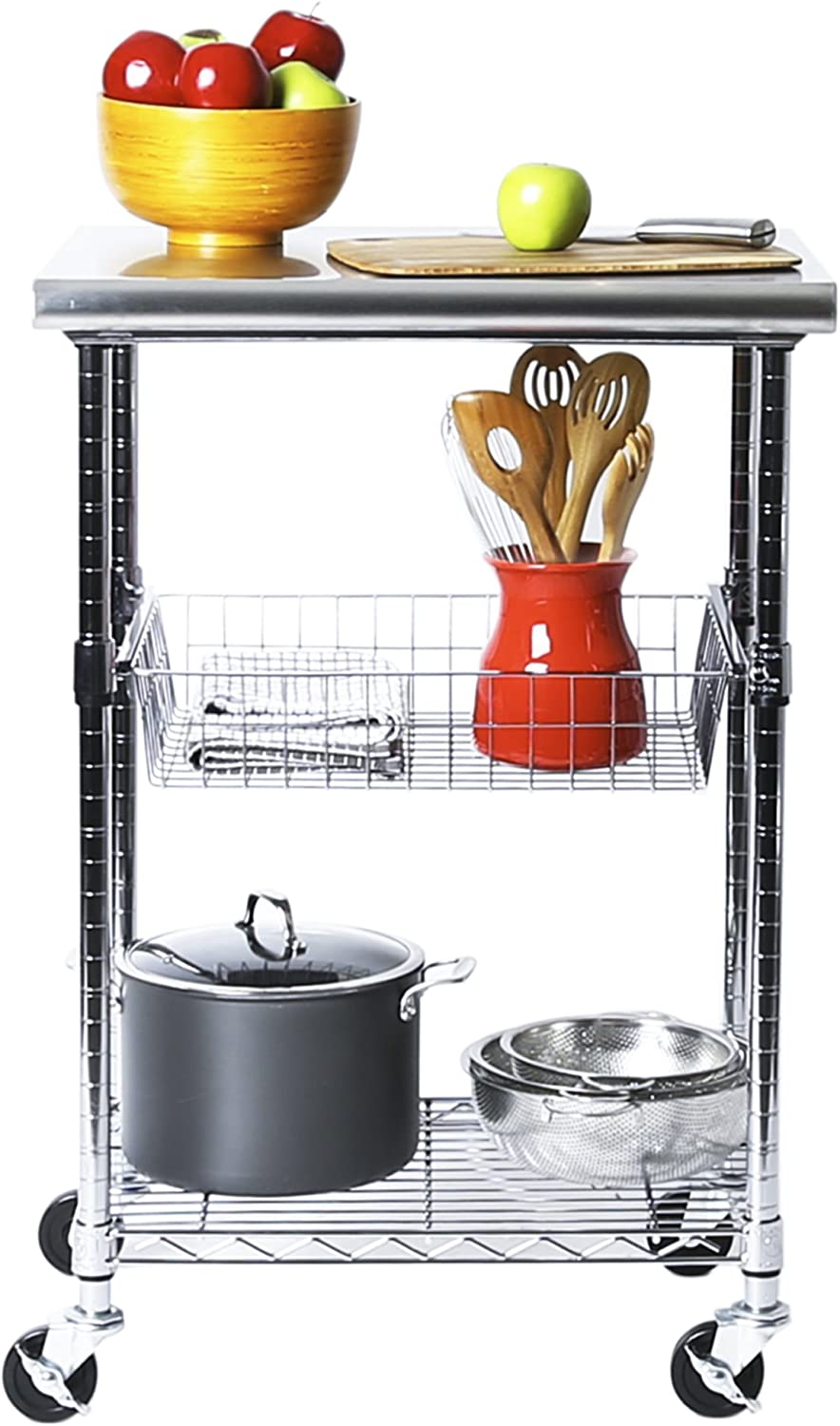 Amazon Com Seville Classics Stainless Steel Professional Kitchen Work Table Cart Utility Nsf Certified Storage 24 W X 20 D X 36 H Chrome Home Kitchen