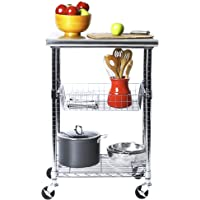 """Seville Classics Stainless-Steel Professional Kitchen Work Table Cart Utility NSF-Certified Storage, 24"""" W x 20"""" D x 36…"""