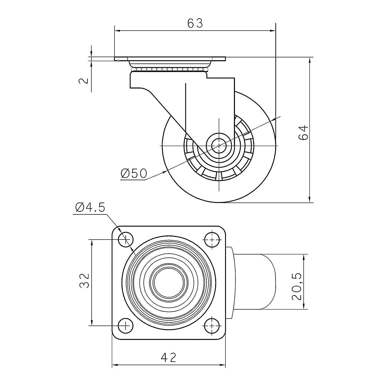 Rotella Orientabile Rotella con Freno di SO-TECH 2 x con /& 2 x senza Fermo SET da 4 x Ruote per Mobili SWIFT trasparenti /Ø 35 mm
