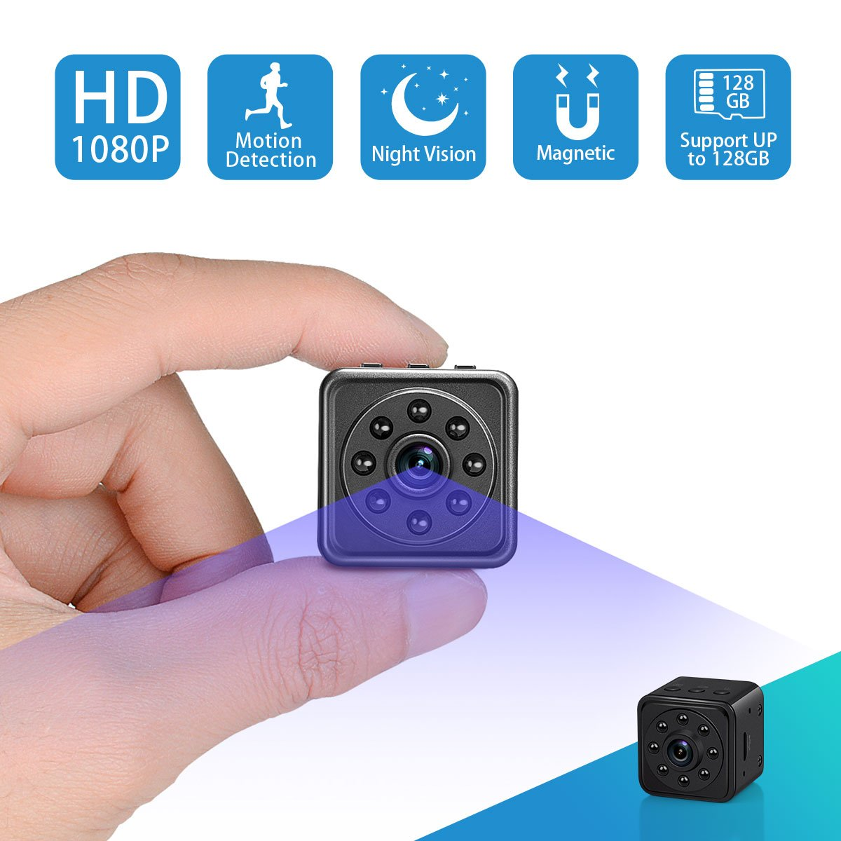 Mini Spy Hidden Camera-SOOSPY 1080P Portable Survelliance Security Camera Nanny Cam with Night Vision/Motion Detection /420mAh Battery for Home and Office,Indoor/Outdoor Use-No WIFI Function