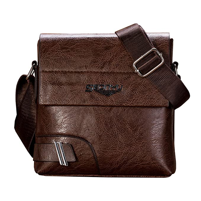 5d72bdf444 Amazon.com  JJLIKER Messenger for Men Classic Business Crossbody Shoulder  Laptop Bag Messenger Fashion Luxury Leather Briefcases  Clothing