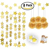 Gold Twinkle Star Garland 25Feet& Gold Tissue Paper Pom Poms(6pcs),Konsait Sparkling Gold Star Banner Bunting and Gold Tissue Paper Flowers for Bridal Baby Showers Birthday Party Hanging Decorations