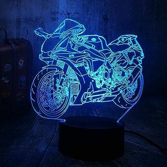 Lámpara 3D de noche LED Bicicleta de motos Decoración Escritorio ...