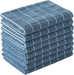 Microfiber Dish Towels - Soft, Super Absorbent and Lint Free Kitchen Towels - 8 Pack (Lattice Designed Blue Colors) - 26 x 18 Inch