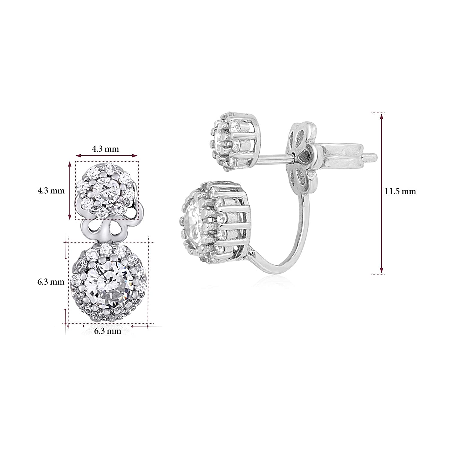 MASSETE Sterling Silver 925 Pave CZ Simulated Diamond Front Back Ear Jacket Post Earrings Interchangable