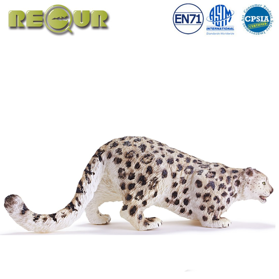 """e5a4617401a RECUR Toys 9.8"""" Snow Leopard Action Figure Toys, Soft Hand-Painted Skin  Texture Leopard Toys for Kids- 1:8 Scale Realistic Design Male Snow Leopard  Replica, ..."""
