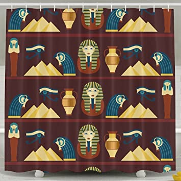 Amazon.com: Hattgg Shower Curtain Ancient Egypt Waterproof Bath ...