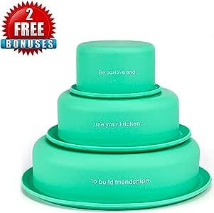LVKH 3 Silicone Cake Molds - Includes Bonus Cupcake Mold - (4 Piece Baking Set)
