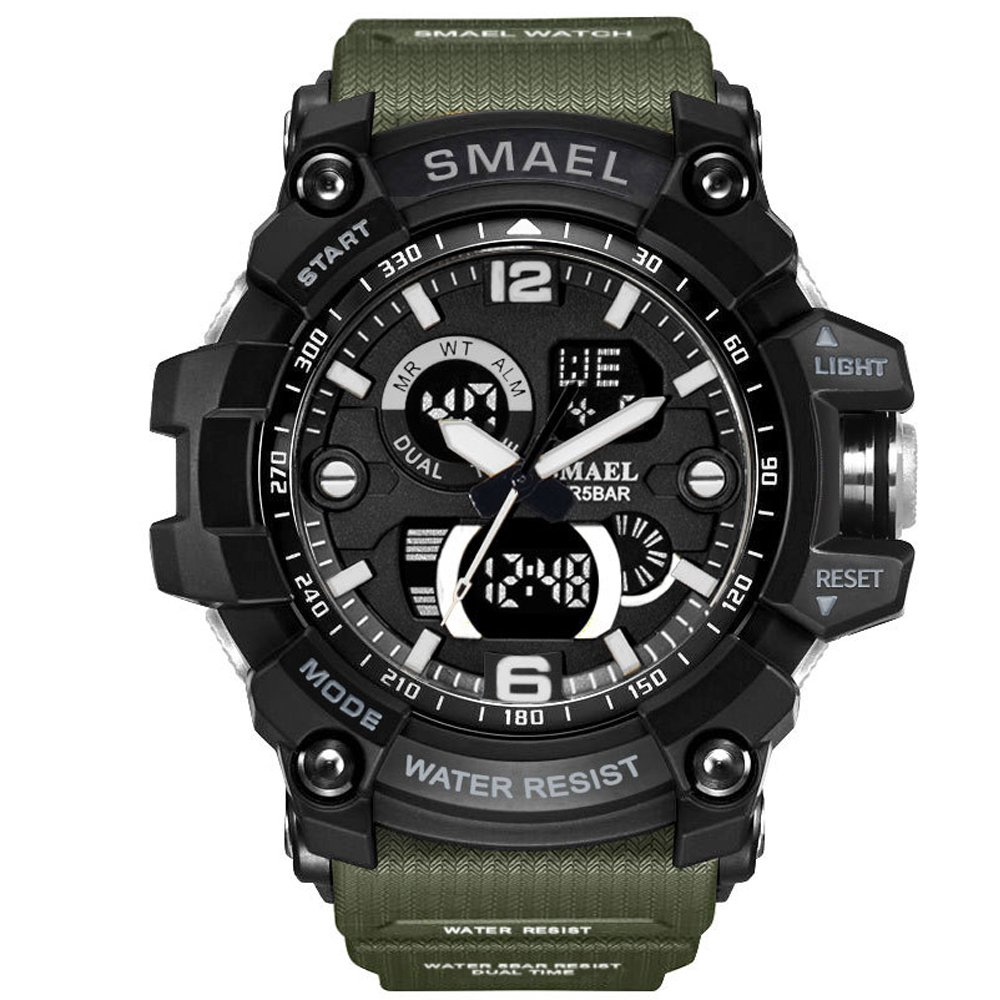 SMAEL Men's Sports Analog LED Digital Wrist Watch Dual Quartz Movement Military Army Sport Watch Water Resistant (Army Green) by SMAEL