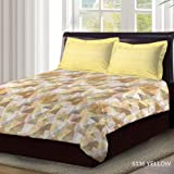 Bombay Dyeing Axia Collection Flat Double Bedsheet Set, Printed Yellow, 220 x 240cm, 3959 B, 3 Pieces