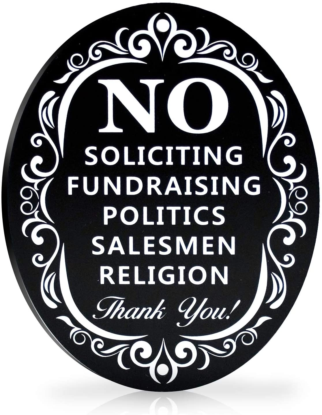 "No Soliciting Metal Sign for Home and Business | Larger Laser Cut Oval 6"" X 4.75"" Heavy Duty DiBond Aluminum 