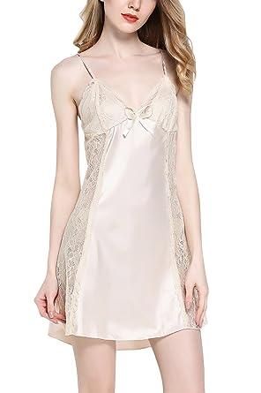 Farben und auffällig schnell verkaufend Rabatt-Verkauf YAOMEI Damen Satin Nachthemd Negliee Sleepshirt Schlafanzug ...