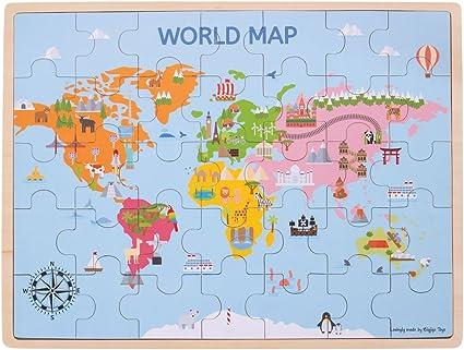 Bigjigs Juguetes de Madera Mapa del Mundo Puzzle - 35 Piezas: Amazon.es: Juguetes y juegos