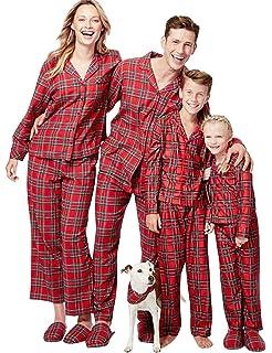 b78564ce17ceb Pyjama Noel Enfant Adulte Vintage Famille Pyjamas Deux Pieces Manche Longue  Combinaison a Carreaux Vêtements de