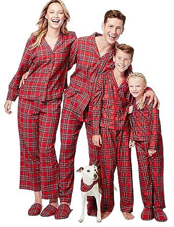 ea73d85a44be9 Pyjama Noel Enfant Adulte Vintage Famille Pyjamas Deux Pieces Manche Longue  Combinaison a Carreaux Vêtements de Nuit Femme Homme Fille Garçon Ensemble  ...