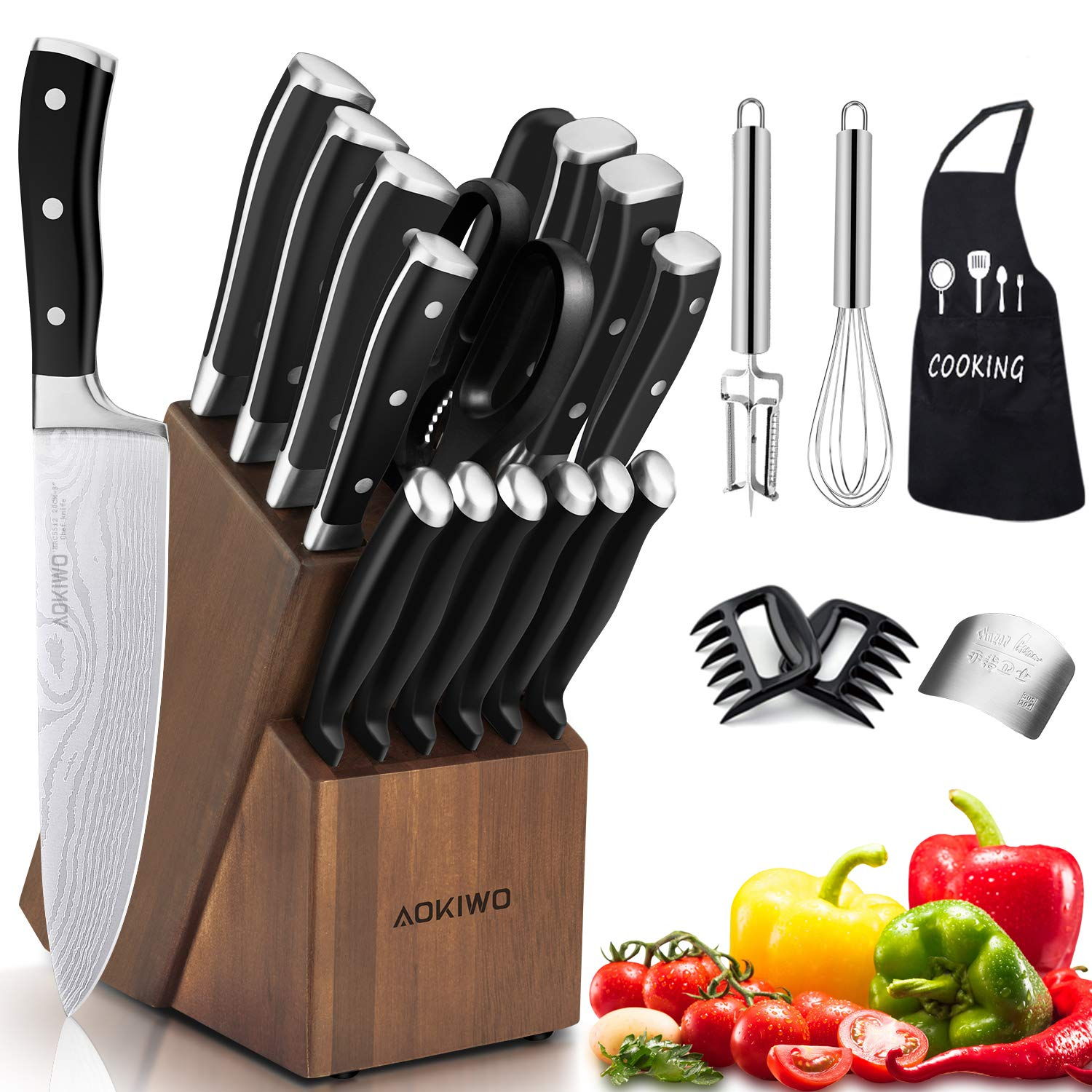 Knife Set, 21-Piece Kitchen Knife Set with Block Wooden, Germany High Carbon Stainless Steel Professional Chef Knife Block Set, Ultra Sharp, Forged, Full-Tang by MAO MAO JEWELRY