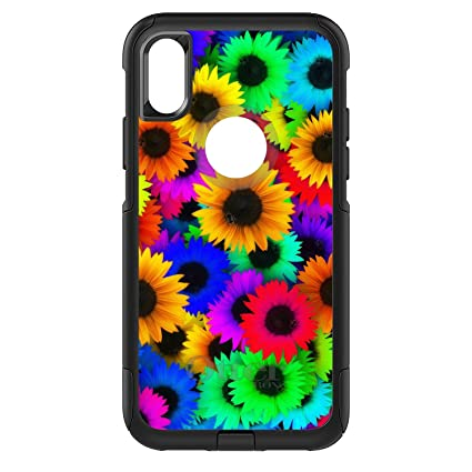 wholesale dealer 822dc d75fa DistinctInk Case for iPhone X/XS (NOT Max) - OtterBox Commuter Black Custom  Case - Red Green Yellow Sunflowers