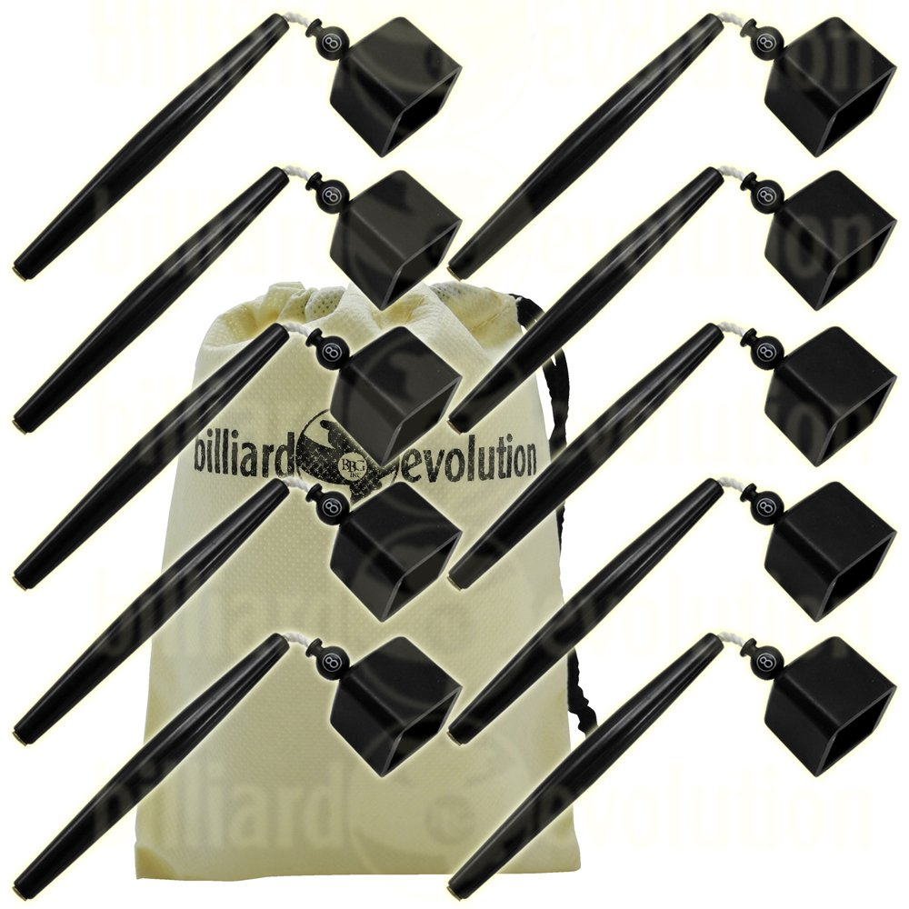 Set of 10 Black Pocket Chalk Holders with Billiard Evolution Drawstring Bag