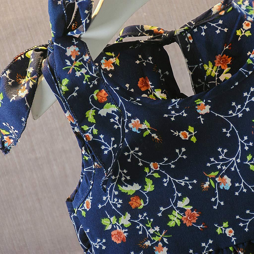 PRETTYEST Kleinkind Kinder Kleider Floral Rock Partykleid Trikot Tanzkleider /Ärmelloses Kinderkleid mit Kirschtupfenschleife Ballkleid Sling Bow Prom Ballkleid