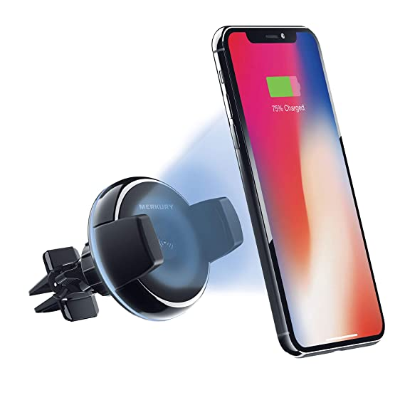 Merkury Innovations Qi Certified Fast Charge Wireless Charger for Car Air Vent Compatible with iPhone X 8/8 Plus Samsung Galaxy S8 Note 8 & More Qi ...