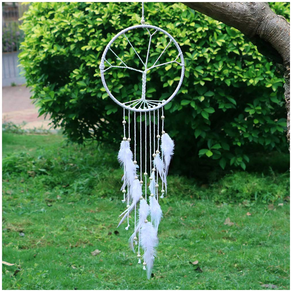 LAVAY Dream Catchers White Handmade Feather Native American Dreamcatcher Circular Net For Kids Bed Room Wall Hanging Decoration Decor Ornament Craft