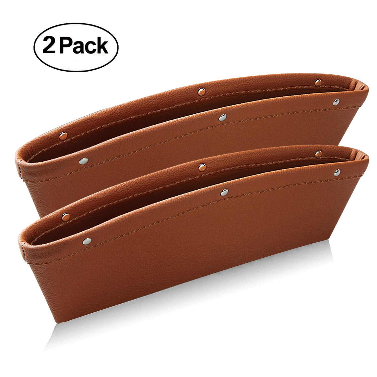 Leather Car Seat Gap Filler, Ampper Car Seat Side Console Slit Caddy Catcher Storage Box Pad Pocket Premium Quality PU Leather - (0.79 - 1.6 in Gap Fit, Black, 2 Pack) DS01