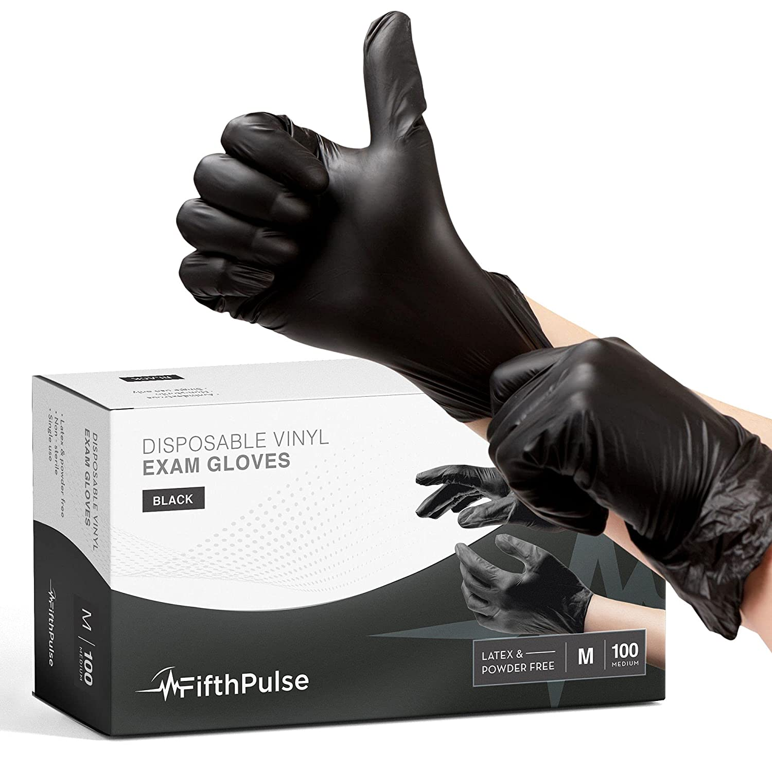 FifthPulse Black Vinyl Disposable Gloves Medium 100 Pack - Latex Free, Powder Free Medical Exam Gloves - Surgical, Home, Cleaning, and Food Gloves - 3 Mil Thickness