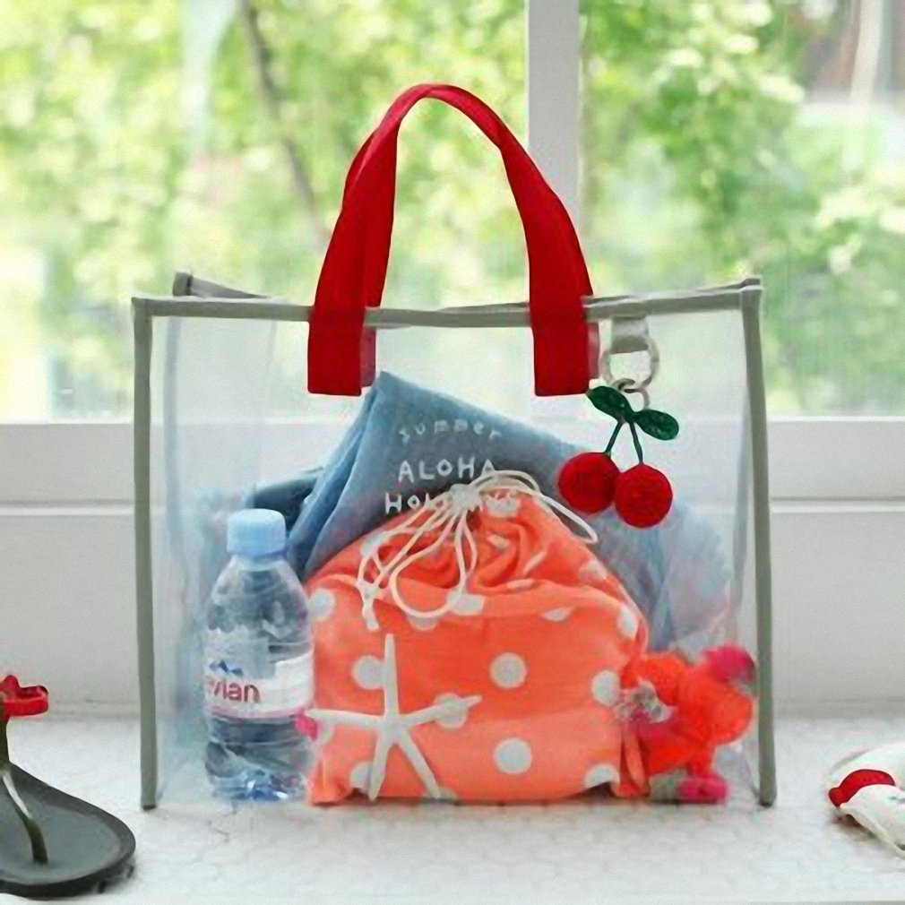 Transparent PVC hand carry swimming bag portable clothing package package fashion beach bag travel handbag red by BBagi