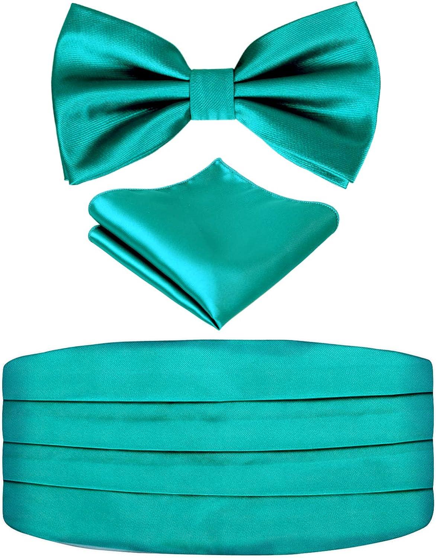 Mens Bow Tie Cummerbund Pocket Square Set Satin Solid Color