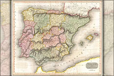 Map 24 Spain.Amazon Com 1815 Map Of Spain And Portugal By Thomson 24 X36