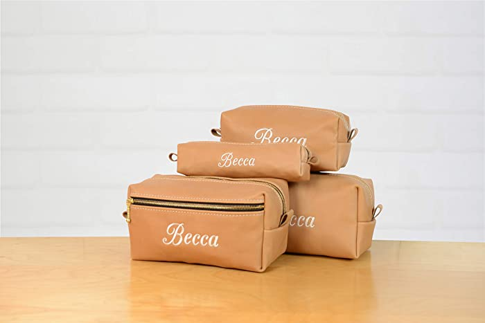 f9f0dae45cd0 Amazon.com: Personalized Natural Leather Dopp Kit   Makeup Bag ...