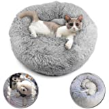 SSAWcasa Donut Dog Bed,24'' Faux Fur Puppy Bed Clearance,Round Calming Cuddler Bed for Small Medium Cats or Dogs,Self…