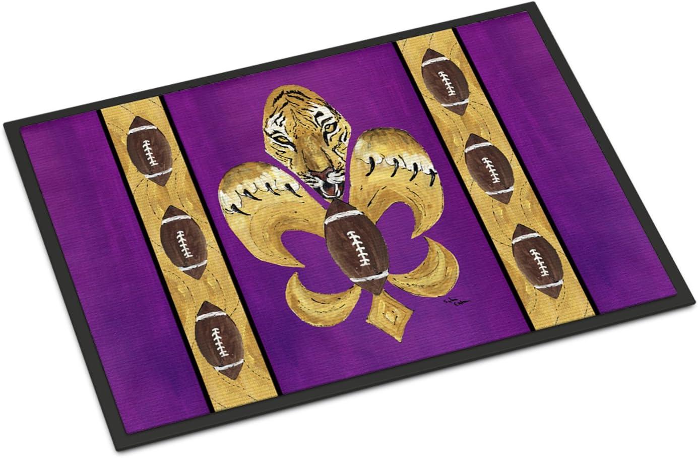 Caroline s Treasures 8205-JMAT Tiger Football Fleur de lis Indoor or Outdoor Mat 24×36 8205 Doormat, 24H X 36W, Multicolor