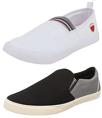 a01c12ef58d9d Chevit Men's Grey, White and Black Canvas Loafers and Moccasins - 8 (Combo  Pack of 2)